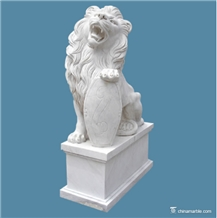 White Marble Lion Hand Carved Outdoor Sculpture