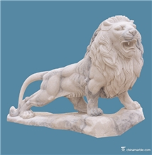 White Marble Lion Hand Carving Garden Sculpture