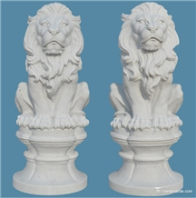 White Marble Lion Outdoor Garden Sculpture