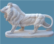 White Veins Marble Lion Outdoor Garden Sculpture