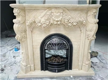 China Marble Fireplace Mantels Surround Handcarved Sculptures