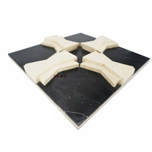 Black and Beige 3d Marble Wall Pattern Panel