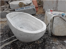 Marble Carved Solid Oval Bathtub