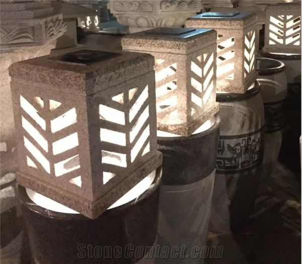 Solar Stone Lanterns Granites Lamps Garden Stones