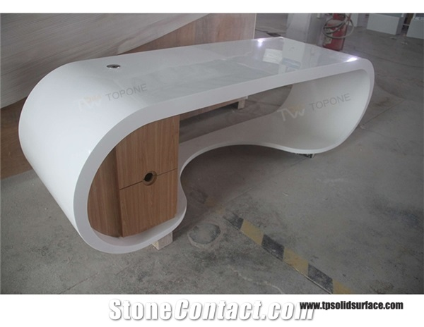 White Curved Acrylic Solid Surface Stone Office Desk Design Furniture