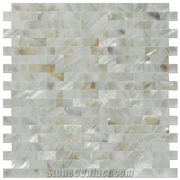 Inter Locking Mother Of Pearl Subway Tile Backsplash For Kitchen