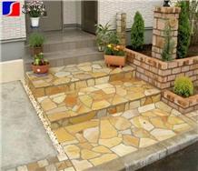 Golden Beige Quartzite Random/Irregular Flagstones Paver Flooring Tile