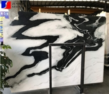 Landscape Paintings,White with Black Net Viens,Panda White Jade Marble