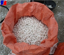 Polished Laizhou White Marble Pebble Rock Decors