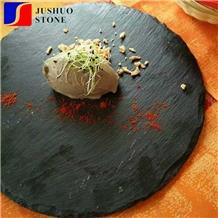 Stock Round Shape Cheap Price Slate Dinner Deserve Plate,Black Slate