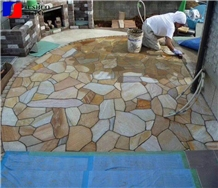 Yllow Quartzite Flagstones Patio Paver,Irregular Flagstone Landscape