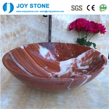 Exquisite Bathroom Wash Basin Red Marble
