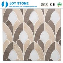 Mosaic Beige Pine Cone Pattern Interior Design