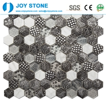 Mosaic Crystal Glass Hexagon Pattern