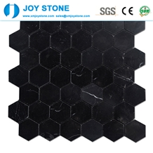 Mosaic Nero Marquina Marble Hexagon Pattern
