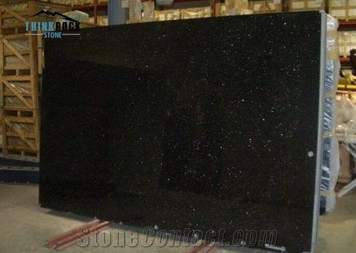 Black Galaxy Granite Tiles Slabs Polished Granite Floor Tiles From