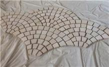 G682 Beige Granite Bushhamered Paving Fan Shape
