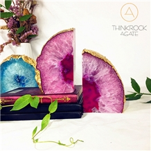 High Hardness Nice Pink Enhanced Rainbows White Agate Geode Bookends