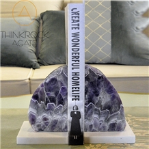 Polished Amethyst Semi-Precious Bookends Stone