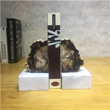Polished Petrified Wood Black Bookends Stone