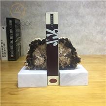 Polished Petrified Wood Black Bookends Stone