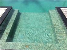 Bali Green Piscinas De Pedra Hijau, Sukabumi Green Tuff Pool Coping