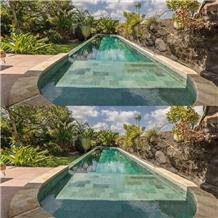 Bali Stone Swimming Pool Tiles, Sukabumi Green Tuff Pool Tiles