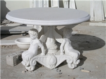 Handcarved Marble Tea Table Sculptured