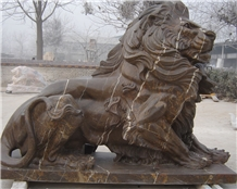 Lion Statued/ Outdoor Sculpture/ Handcarved Sculpture/ Stone Carving