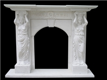 White Marble Fireplace Railing Column Capital Carving Customized Stone
