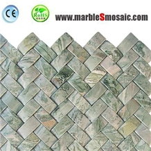 Green Marble Basketweave Mosaic Tile
