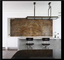Bidasar Brown Marble and White Quartz Kitchen Countertop