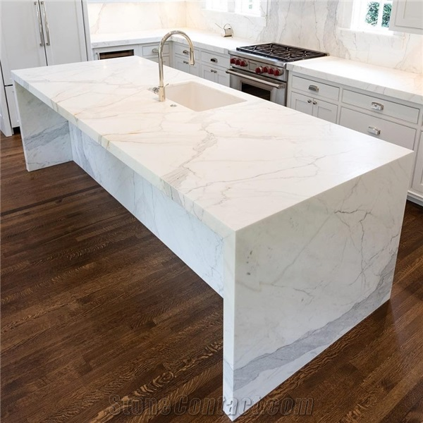 White Marble Kitchen Island Countertops From United States Stonecontact Com