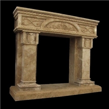 Fireplace Tostony - Carved Durango Chocolate Travertine