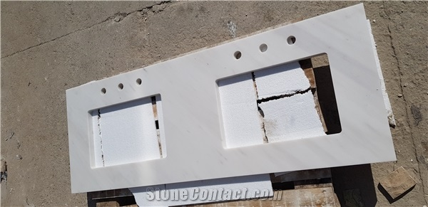 Bathroom Tops With Bianco Sivec Marble Double Sink Vanity Top