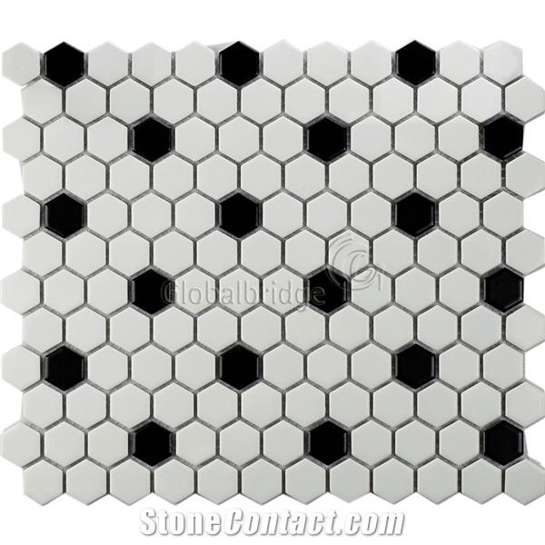 Hexagon Black And White Ceramic Mosaic Bathroom Floor Tile From