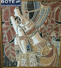 Human Portraiture Marble Mosaic Medallions Carpet