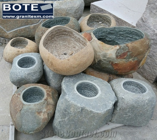 StoneContact.com & Natural Stone Cobblestone River Stone Flower Pot ...