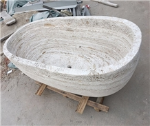 White Travertine Free Standing Bathtub