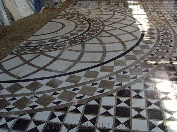 Hotel Floor Waterjet Marble Stone Medallion Tile Medallions