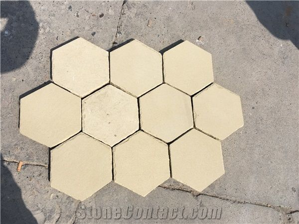 Yellow Sandstone Patio Pavers Hexagon Sandstone Pavers For Floor