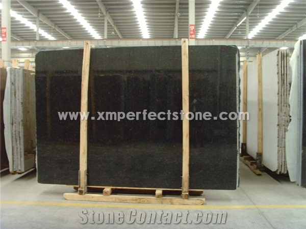 Angola 12mm Thick Black Granite Slab For Kitchen Countertop From