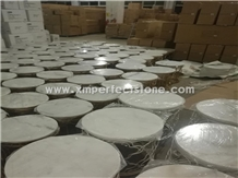 Round Table Tops White Marble for Restaurant