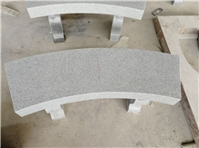 G633 Light Gray Granite Curved Bench with Harp Legs