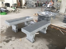 G633 Light Gray Granite Straight Bench with Harp Legs