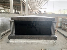 India Mahogany Granite Double Crypts Mausoleum with Round Column