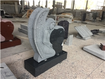 Regal Slate Dark China Gray Heart Monument with Angel Carved Fully