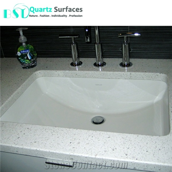 Engineered White Quartz Stone Commercial Counters From