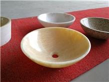 Rosin Yellow Honey Onyx Vessel Sink Bowls