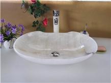 White Onyx Fashionable Design Wash Basins